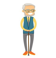 old caucasian white man in eyeglasses with a cane vector image