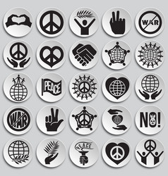 Peace icons set on plates background for graphic vector
