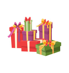 pile gift box icons isolated packed presents vector image