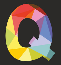 Q low poly colorful alphabet letter isolated vector