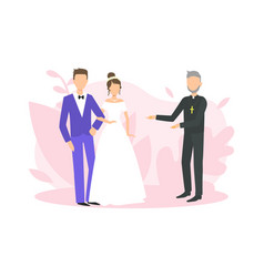 religious wedding ceremony couple newlyweds vector image