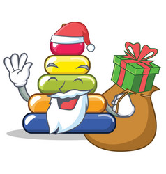 santa with gift pyramid ring character cartoon vector image