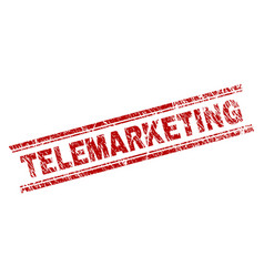 Scratched textured telemarketing stamp seal vector