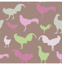 Seamless pattern with chickens and roosters green vector image