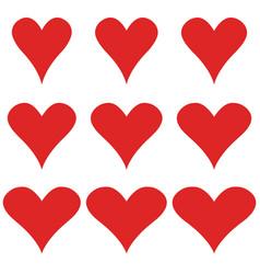 set hearts elegant shape heart symbol vector image