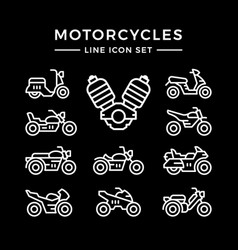 Set line icons of motorcycles vector
