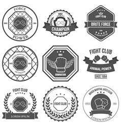 Set mixed martial arts labels badges vector