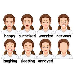 Set of girl facial expression vector