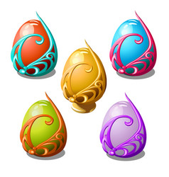 Set of glossy easter eggs in ornate frame isolated vector