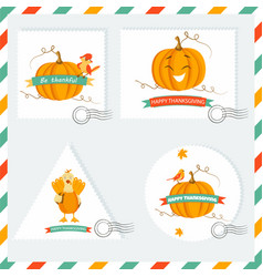 set of holiday backgrounds and stamps with pumpkin vector image