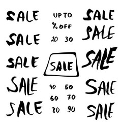 set of sale quotes hand lettering collection vector image