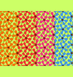 set of seamless patterns with vivid abstract vector image