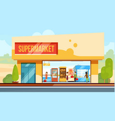 Supermarket in front view with shopping people in vector