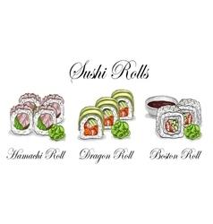 Sushi color sketch set vector