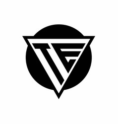 te logo with negative space triangle and circle vector image