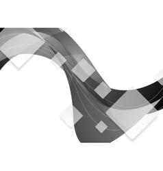 Tech geometric wavy grey background vector
