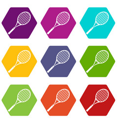 tennis racket icons set 9 vector image
