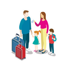 tourist family with children and bags vector image