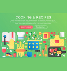 trendy flat gradient color cooking and vector image