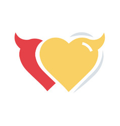 twins heart of devil love flat icon vector image