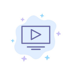 Video play youtube blue icon on abstract cloud vector