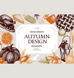 vintage autumn template vector image