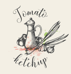 vintage background with tomato ketchup vector image