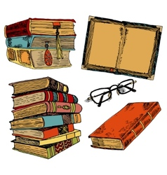Vintage books color sketch vector image