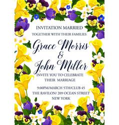 Wedding invitation with spring flower frame border vector