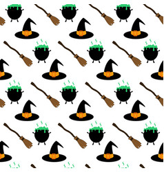 Witch hat and broom pattern vector