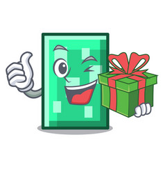 With gift rectangle mascot cartoon style vector