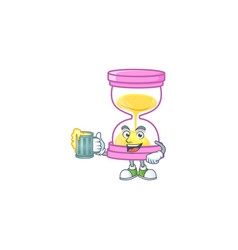 With juice icon sandglass in cartoon character vector