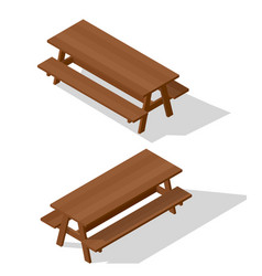 Wooden table with benches vector