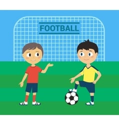 Young football players vector