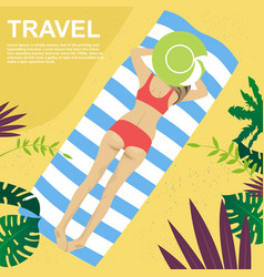 young woman lying on her towel on tropical beach vector image vector image