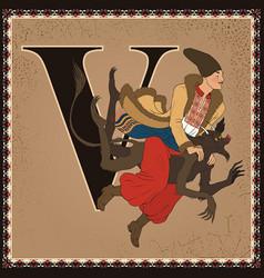 children book cartoon fairytale alphabet letter v vector image vector image
