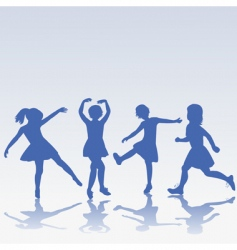children silhouettes playing vector image