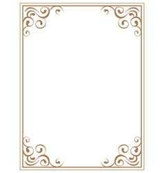 frame with brown patterns on a white background vector image vector image
