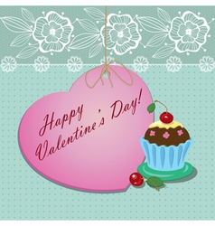 heart with a cupcake vector image