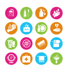 hygiene viruses and bacterias icons vector image