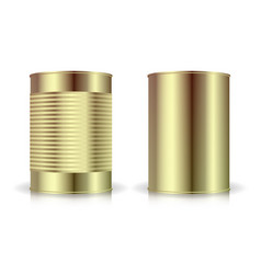 metallic cans set gold tin can blank for vector image vector image