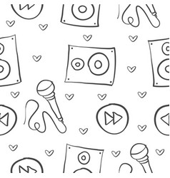 music theme doodle style collection vector image