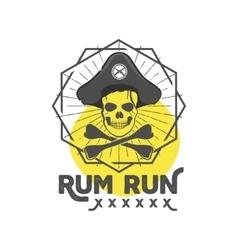 Pirate skull insignia or poster Retro rum label vector image vector image
