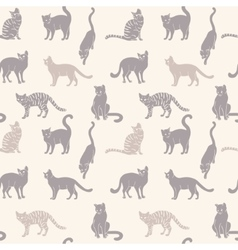 Cats seamless silhouette vector image