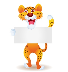 cheetah with blank sign vector image