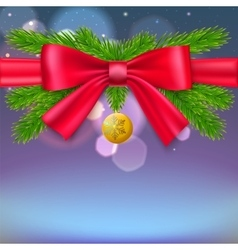 Firs branches Christmas ball vector image