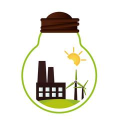 green factory building icon vector image