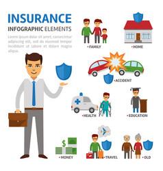insurance broker infographic elements flat vector image vector image