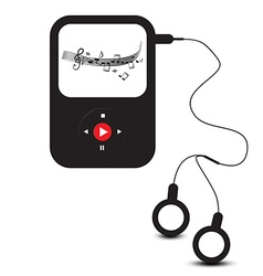 MP3 Player Icon Retro mp3 Device with Headphones vector image vector image