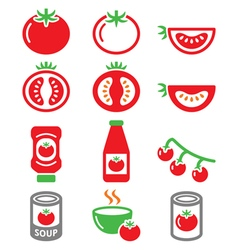 Red tomato ketchup tomato soup icons set vector image vector image